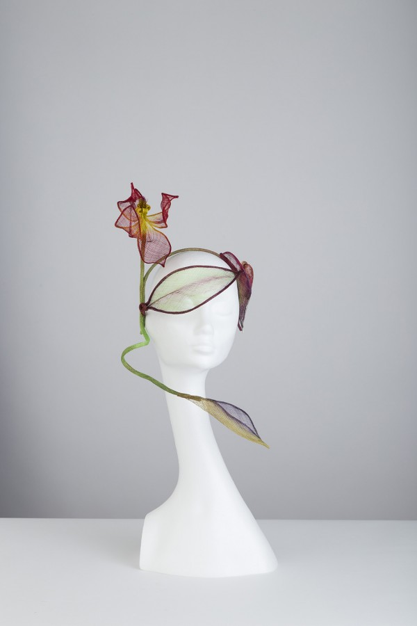 Visor style headpiece, with autumn colours and handmade tulip arrangement.