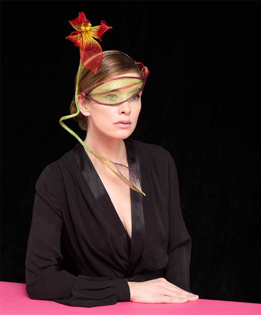 Model wearing the Bowie headpiece - part of the Highstreet Collection